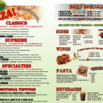 Pizanos Pizza Menu Inside